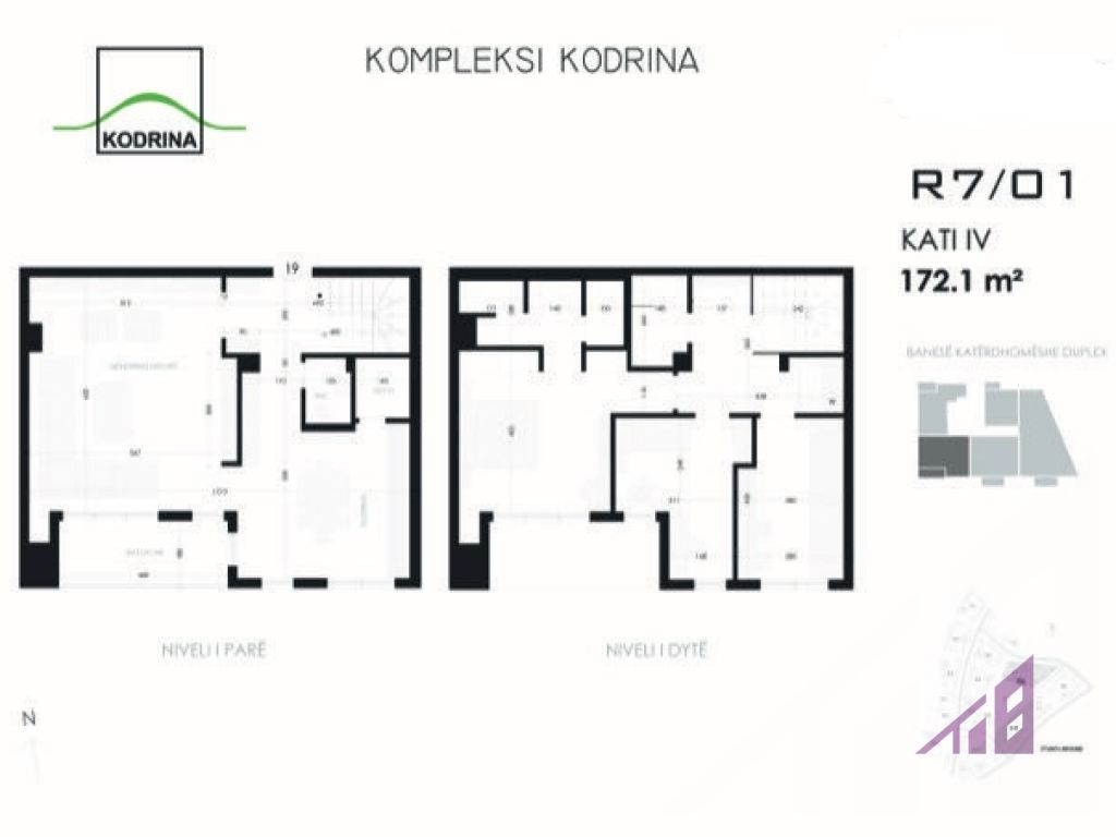 Duplex ne shitje me tri dhoma gjumi ne kompleksin Kodrina