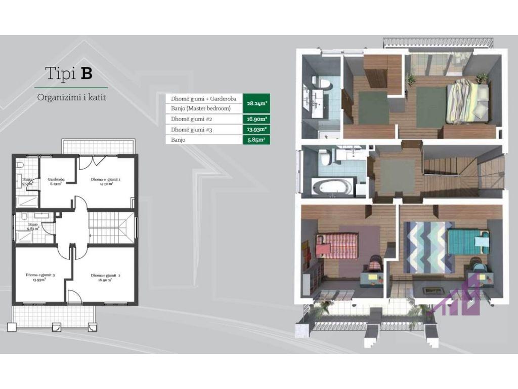 Shtëpi në shitje 213.26m2 në lagjen Peja Hill Residence  - Tipi B3