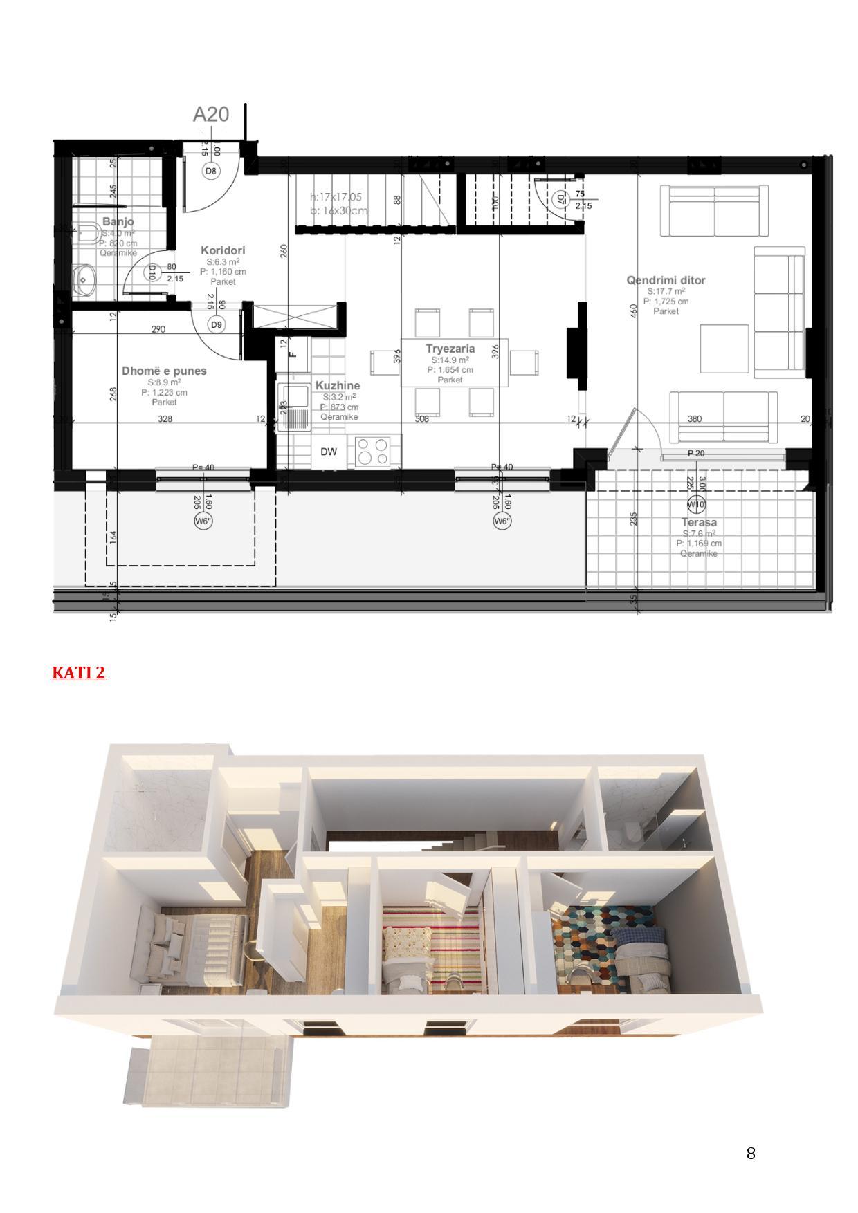 Duplex në shitje 150.3 m2 në Mati 1