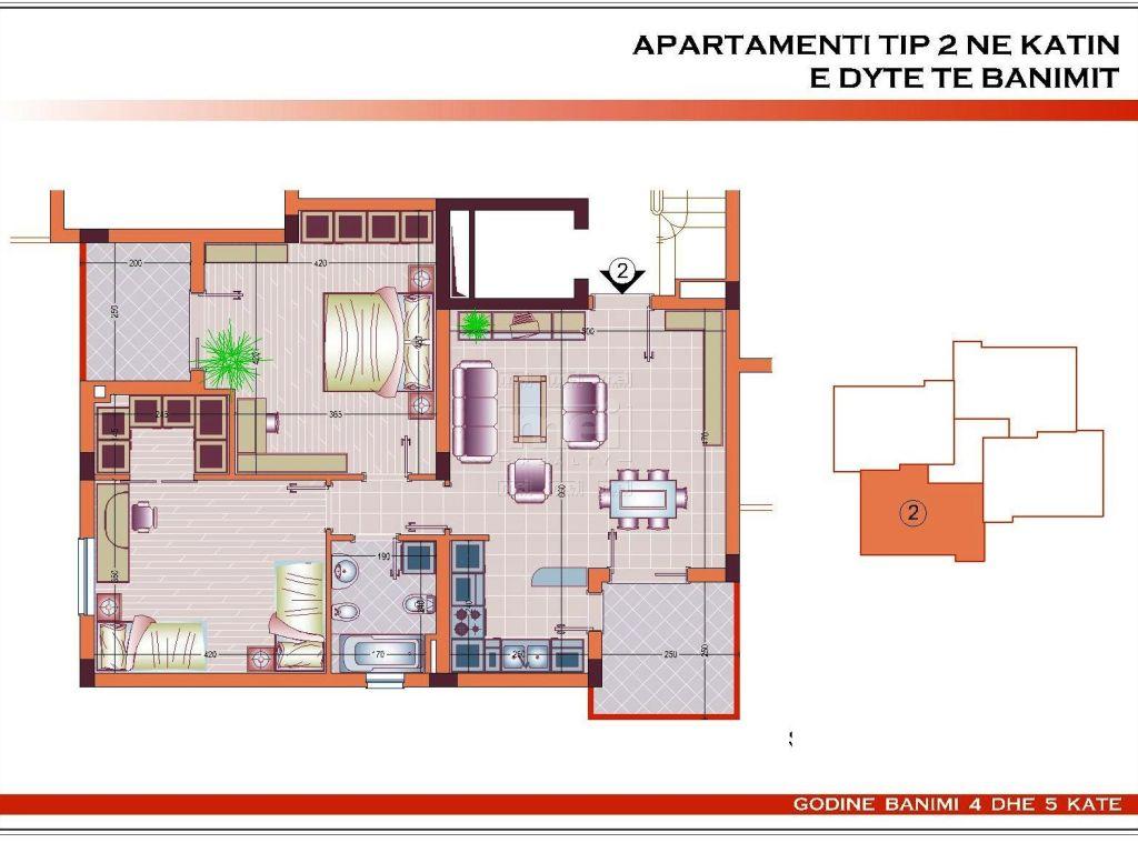 Shitet apartament 2+1 tek Kopshti Botanik.