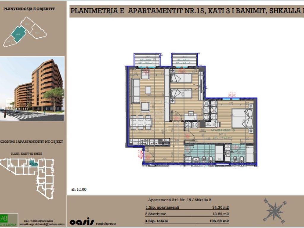 Shitet Apartament 2+1+2 Tek Kompleksi Oasis