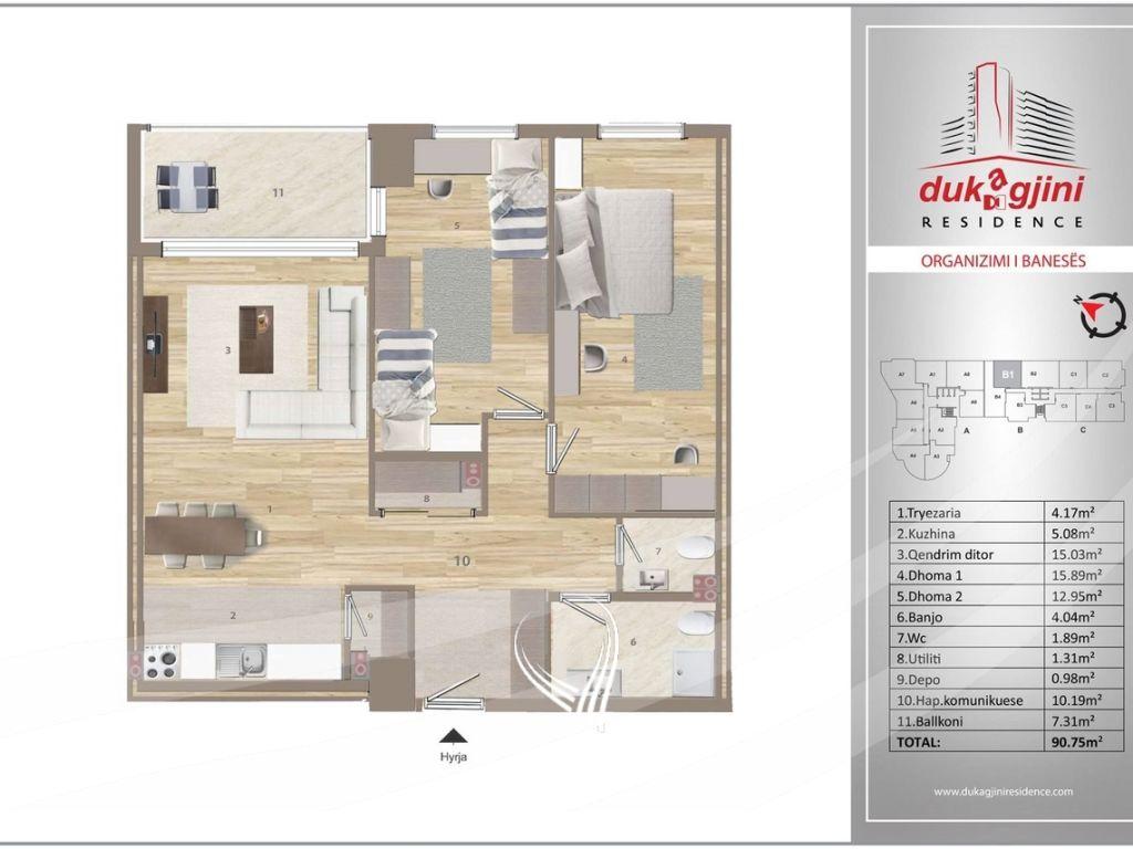 Banesë 90.75m2 në shitje në Lakrishte – Dukagjini Residence4