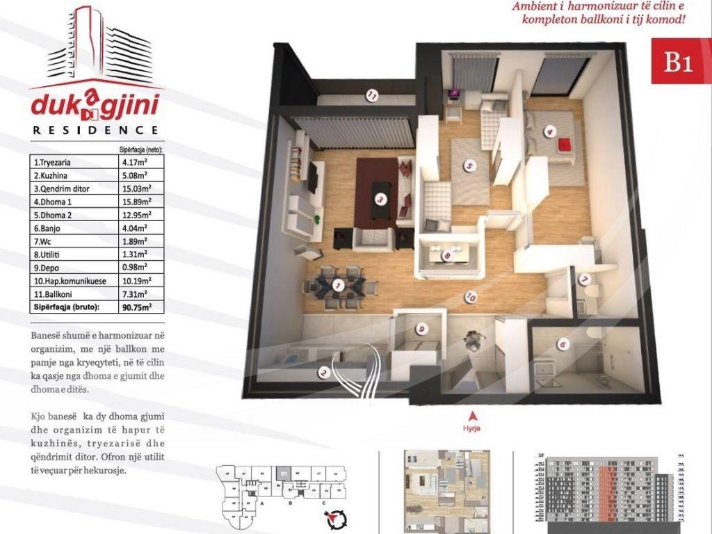 Banesë 90.75m2 në shitje në Lakrishte – Dukagjini Residence5