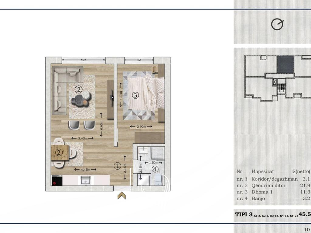 Banesë me 1 dhomë gjumi në shitje në lagjen Mat2