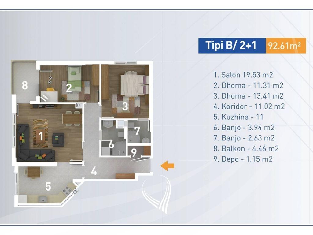 Banesë me 2 dhoma gjumi në shitje në lagjen Aktash13